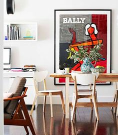 Bally Pink by Bernard Villemot, perfect splash of colour to this room.