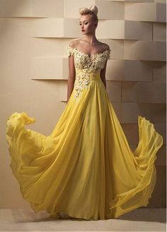 Buy discount Flowing Tulle & Chiffon Off-the-shoulder A-Line Prom Dresses With Beaded Lace Appliques at Dressilyme.com