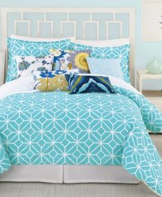 Trina Turk Bedding, Trellis Turquoise Comforter and Duvet Cover Sets - Sale Bedding Collections - Bed & Bath - Macy's