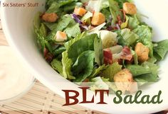 BLT Salad Recipe from sixsistersstuff.com.  We love BLTs and this salad hits the spot! #recipes #salad