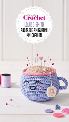 What a little sweet-tea! Hook up this cute pincushion for a quick crochet fix. The soft pastel colour palette and face means you'll want this little tea friend next to you whenever you're finishing off your next project – and she makes a perfect gift for any sewist friend, too. Designed by Louise Smith and featured in Simply Crochet Magazine, 72 which you can buy digitally at http://www.simplycrochetmag.co.uk/digitaleditions/