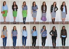 """great """"mix and match"""" set: button front shirt, pencil skirt, striped tee dress, jeans, black skinnies, floral blouse, chambray shirt, leather jacket and boots, patterned cardi"""