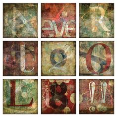 9-Piece canvas print set with a typographic motif.  Product: 9 Piece wall decor setConstruction Material: Canvas...
