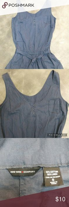 New York & Company romper Super cute and comfortable blue romper. Size S New York & Company Shorts