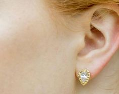 Wedding Earrings - Gold & Teardrop Crystal Earrings, Alisha-Stud