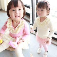 5pcs/lot Autumn new arrival baby girls fahion flower lace tshirt long sleeve princess blouse 983 US $36.80