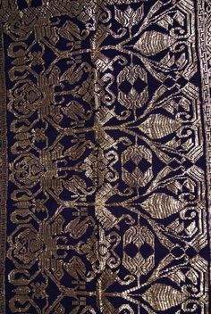 Antique Art Metallic Gold Purple Embroidery Brocade Wedding Sarong Songket SG36 Offered by #AsmatCollection on Bonanza