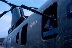 Machine gun on a USMC Boeing-Vertol CH-46 Sea Knight helicopter.