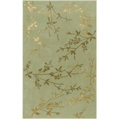 Tamira Collection Wool Area Rug in Turtle Green and Gold design by Surya