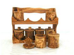 olive wood | olive wood olive wood set of 8 canisters - Olive Wood kitchen - Olive ...