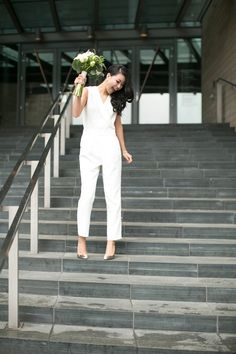 If you are a casual bride and are going for a casual wedding, if you are going to elope or tie the knot in the city hall and don't want to look too formal, Casual Bride, Casual Wedding, Wedding Tips, Wedding Hacks, Wedding Day, Rachel Zoe, White Pantsuit, Wedding Jumpsuit, City Hall Wedding