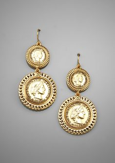 CAROLEE Large Double-Coin Drop Earrings