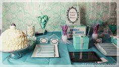 Amber's Tiffany & Co. themed Bridal Shower: http://arzanmontreal.blogspot.ca/2015/04/ambers-bridal-shower.html   Dessert Table/Candy Buffet: Dress cake, macarons, Personalized Hershey's Chocolate bars, favor boxes