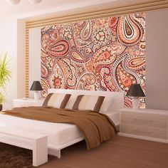 """this pretty paisley print wallpaper mural """"A little bit of the Orient """" will transform your Room into something truly beautiful with all the pastel colors to enlighten your room or workplace 3d Wallpaper Mural, Original Wallpaper, Photo Wallpaper, Interior And Exterior, Interior Design, High Quality Wallpapers, Abstract Wall Art, House Painting, Pastel Colors"""
