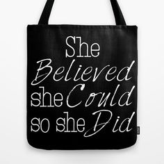 Check out Feminist Tote Bag, Strong Woman, Tote with Womans Quote, She Believed, She Could, So She Did, Graduation Gift, Girls Tote, Self Esteem, Grad on peppermintcreekprint