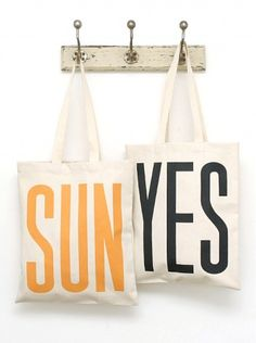 sun yes - summer canvas grocery / market tote bags - no paper or plastic