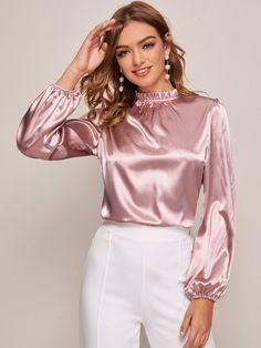 Discover our wide range of with color blocks at CUTESPREE. Satin Fabric, Silk Satin, Metallic Blouses, Silk Blouses, Satin Bluse, Satin Top, Bishop Sleeve, Beautiful Blouses, Satin Dresses