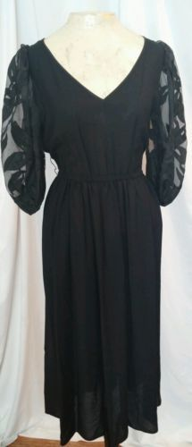 Vintage 1980s does 1940s Black Dress Morton Myles Sexy Low Cut Shear sleeves