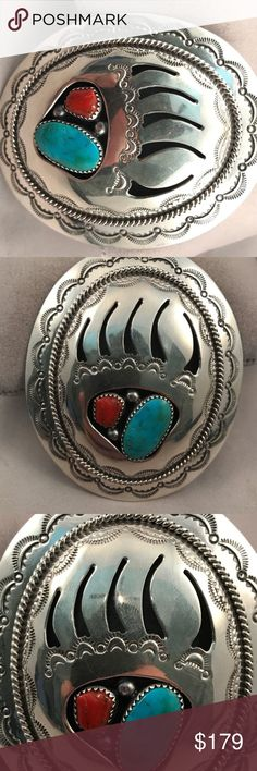 Navajo Silver and Turquoise and Coral buckle Beautiful Navajo Silver and Turquoise and Coral belt buckle  Sterling Silver  with turquoise and Coral Stones New with tags: A brand-new, unused, and unworn item (including handmade items) in the original packaging (such as the original box or bag) and/or with the original tags attached.  Tribal Affiliation:Navajo         Metal:Sterling Silver Signed?:yes Metal Purity:Sterling Silver Country/Region of Manufacture: United States Main…