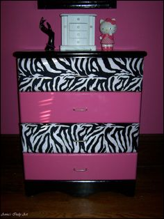 Upcycled dresser...love this, but I would do purple most definitely... Purple & zebra print..