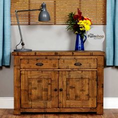 The Furn shop 2 Drawers 2 Doors Oak Sideboard offers an eye-catching look and handy storage for your home. #Sideboard #OakSideboard #Storage