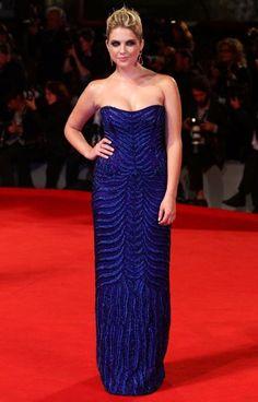 Ashley Benson                          dripped in midnight blue sequins courtesy of Alberta Ferretti.