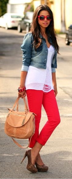 Red pants. Cropped blue jean jacket.