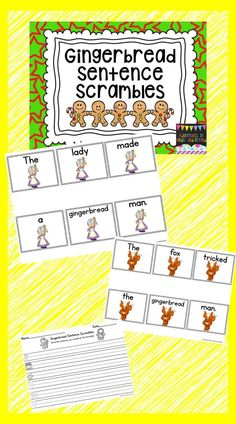 For this activity, student unscramble and rewrite sentences. The sentences are gingerbread story themed. Included are 6 sentences in color and b/w 2 response sheets for students to write the sentences they create.