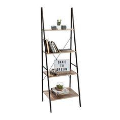 Industrial Ladder Bookshelf Shelf Storage 4 Tier Open Bookcase Cabinet Home Ofc Ladder Bookshelf, Open Bookcase, Industrial Bookshelf, Bookshelf Styling, Bookshelf Design, Industrial House, Industrial Style, Bookshelves, Industrial Furniture