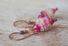 Handmade Copper Wire  Textil Beads Earrings by jimenasjewelry