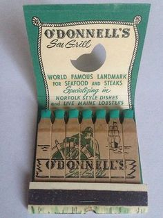 Vtg Feature Matchbook O'Donnell's Sea Grill Washington D C and MD | eBay