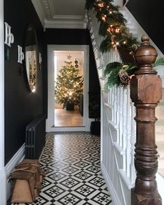 London Mosaic Hallway Christmas Our Norfolk 50 design in this gorgeous period home Contact London Mosaic Hallway Christmas Our Norfolk 50 design in this gorgeous period home Contact Marina Dubrowskaia nbsp hellip quotes Victorian Hallway Tiles, Edwardian Hallway, Tiled Hallway, Edwardian House, Modern Hallway, Edwardian Staircase, Victorian Flooring, Victorian Stairs, Tiled Staircase