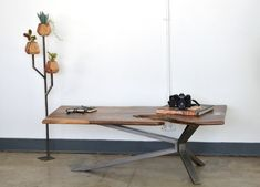 Live Edge Walnut Coffee Table w/ Steel Cantilever  —