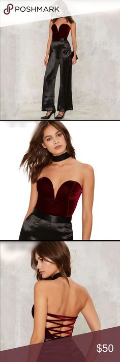 Sweetheart Velvet Lace up Bodysuit Burgundy red velvet bodysuit with plunging sweetheart wire neckline. Snap closure and lace up detail on the back for adjustments. 65% cotton 35% polyester. Approx 24 inches long. Tops