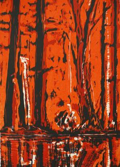 Bernd Zimmer, Wald-Spiegel-Wasser III, 2012, woodcut, measures: 77 x 54 cm, edition: 12