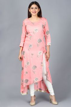 anokherang Flamingo Pink Asymmetrical Side Slit Kurti with Churidaar Ethnic Fashion in all sizes from XS to Plus Sizes Kurta Designs Women, Salwar Designs, Kurti Designs Party Wear, Latest Kurti Designs, Silk Kurti Designs, Dress Neck Designs, Designs For Dresses, Blouse Designs, Kurti Sleeves Design