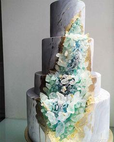 Crystal rock wedding cake