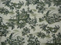 Pretty Green French Style Toile with Off by ScarlettsCozyCottage, $10.00