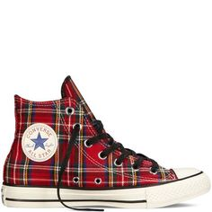 Converse-Chuck Taylor All Star Tartan Plaid-Red from Converse. Saved to Shoes👢👠👡👞👟. Converse Sneakers, Black Sneakers, Black Shoes, Tartan Shoes, Tartan Plaid, Converse Chuck Taylor All Star, Converse All Star, Cute Shoes, Me Too Shoes