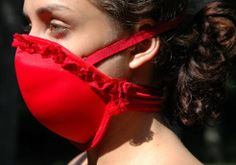 Emergency Mask converted from a bra..