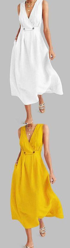 Dresses - Commuting V Neck Pleated Solid Colour Button Dress Dressy Dresses, Summer Dresses, Lace Dresses, Club Dresses, Wide Leg Yoga Pants, Button Dress, Button Button, Online Dress Shopping, Shopping Sites
