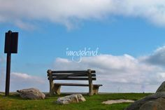 "My Photography - ""Bench on Overlook"" by Jessica Angley. Prints available at MindfulPhotog.imagekind.com.  #Blue #Sky #Clouds #Clear #Lookout #Rocks #Watching #Empty chair #Landscape #High Point #New Jersey #NJ #Image #Photo #Picture"
