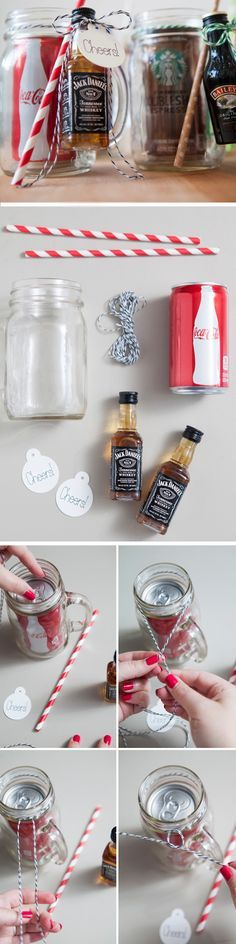 Mason Jar Cocktail Gifts Click Pic for 22 DIY Valentine Gifts in a Jar for Men DIY Valentine Gifts for Friends by cheryl Diy Christmas Gifts For Coworkers, Diy Christmas Baskets, Homemade Christmas Gifts, Homemade Gifts, Craft Gifts, Gifts For Friends, Holiday Gifts, Christmas Crafts, Funny Christmas