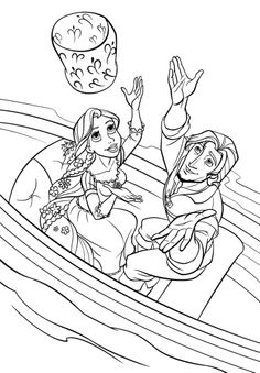 Princess Rapunzel And Her Lover Are On Boats Coloring Pages