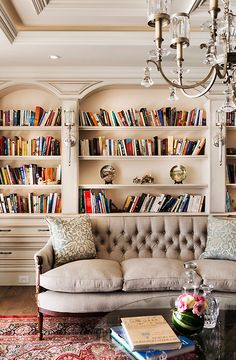 Mounting Bookshelves In Classic Style With Lovely Mounting Lamps Decoration Behind The Living Room Sofa Also Lovely Chandelier Classical Private Residence with Elegant Style Home design My Living Room, Home And Living, Living Spaces, Cozy Living, Sweet Home, Home Libraries, Interior Exterior, Interior Ideas, Room Interior
