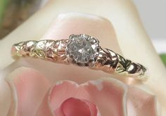 SPRING FEVER SALE ENDS TOMORROW! SAVE $100 on this 14k Tri-colour Floral JABEL Diamond Solitaire - Popular, Rare