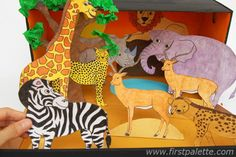 Step 9 african savanna habitat diorama craft projects for kids, fun crafts Craft Projects For Kids, Fun Crafts For Kids, Craft Stick Crafts, Art For Kids, School Projects, Craft Sticks, Kids Fun, African Savanna Animals, Giraffe Habitat