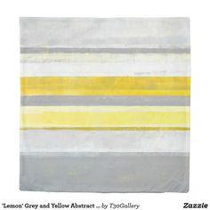 'Lemon' Grey and Yellow Abstract Art Duvet Cover