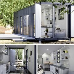 Luckdrops studio+ tiny container home. Container Bar, Cargo Container Homes, Building A Container Home, Container House Plans, Container House Design, Shipping Container Homes, Plan Studio, Container Conversions, Casas Containers