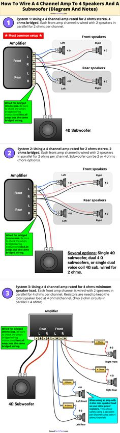 Car amplifier wiring diagram installation how to wire 4 channel amp 4 speakers and sub diagram Pioneer Stereo, Car Audio Installation, Subwoofer Box Design, Cool New Gadgets, Speaker Amplifier, Car Audio Systems, Speaker Design, 4 Channel, Wire